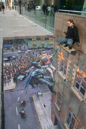 chalk batman robin rescue art