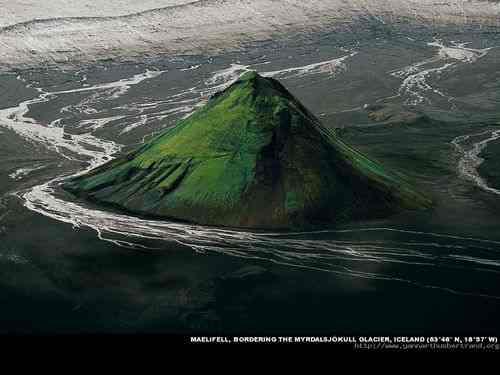 Maelifell, bordering the Myrdalsjokull, Glacier, Iceland