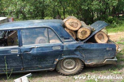 wood in car