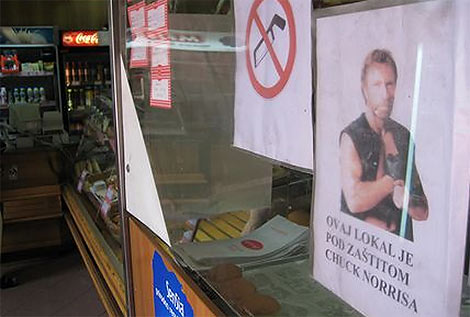 chuck norris protect bakery with photo