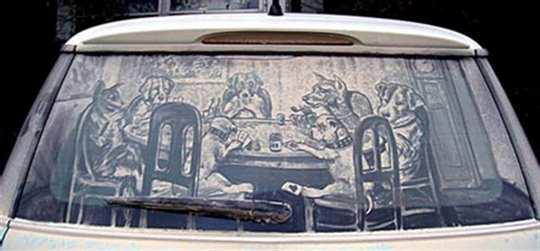 dirty car art poker dogs