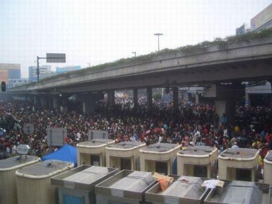 crowd train station
