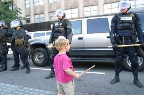 funny riot police kid