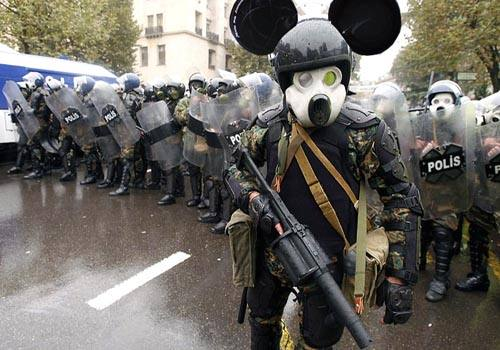 funny riot police mickey mouse
