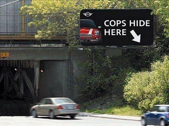 creative funny billboards cops hide here