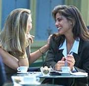 women talking on caffe