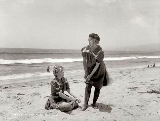 girls on beach in the past