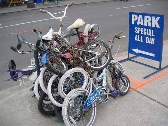 crazy bicycle parking